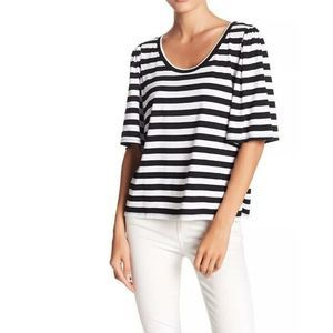 14th & Union Stripe Bell Sleeve Scoop Neck Top